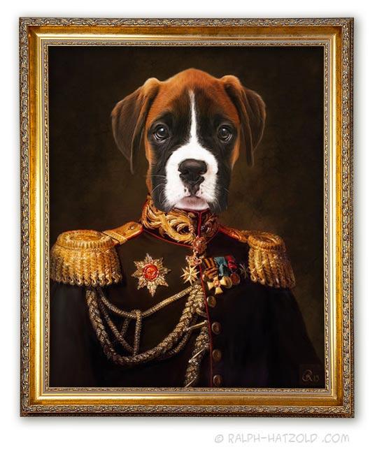 Boxer in Uniform Gemälde limitierte Edition gerahmt Geschenk für Hundebesitzer