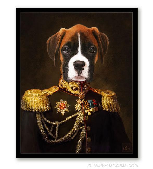 Hundeportrait Boxer Gemälde Stil Bild Hund in Uniform