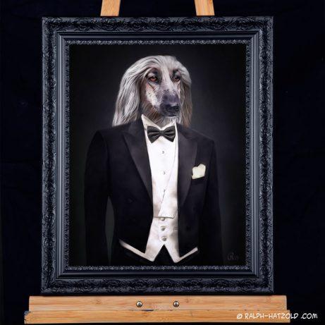 Hundeportrait Windhund in Kleidung, Gemälde Stil Hund im Anzug, Windhund Bilder