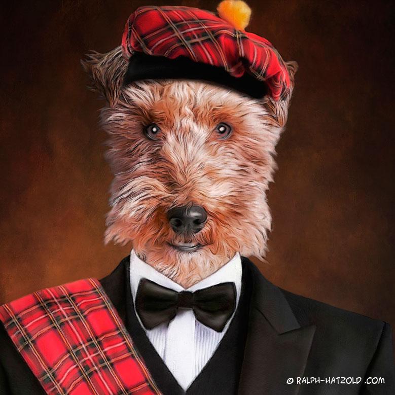 Hundeportrait, Airedale Terrier in Kleidung, Gemälde Stil, Hunde Schottenrock
