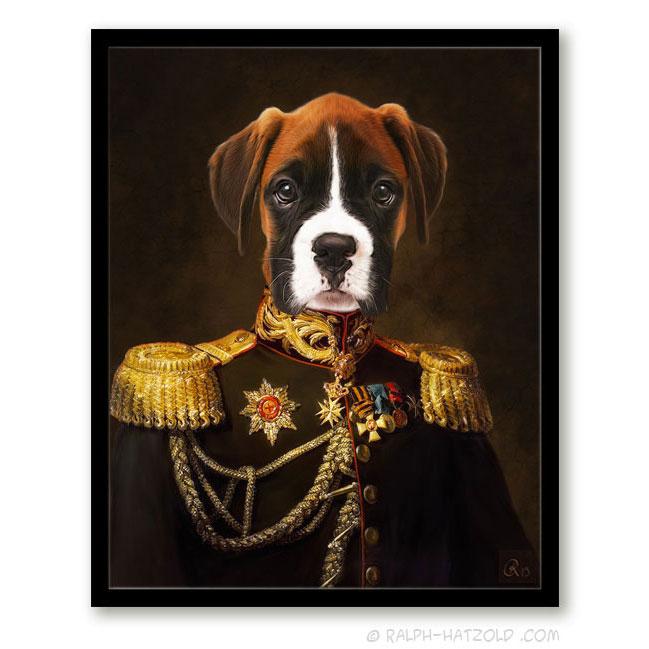 Boxer in Uniform Bild Geschenk für Hundebesitzer Boxer in Kleidung Gemälde Stil