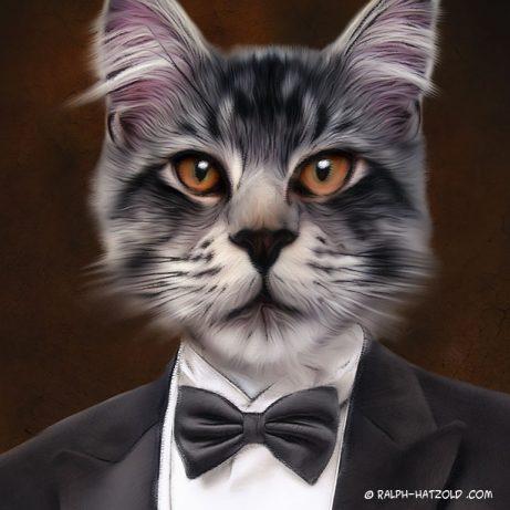 Katze im Anzug Katze Gemälde Stil kaufen, Katzernportraits in Kleidung Geschenk Katzen