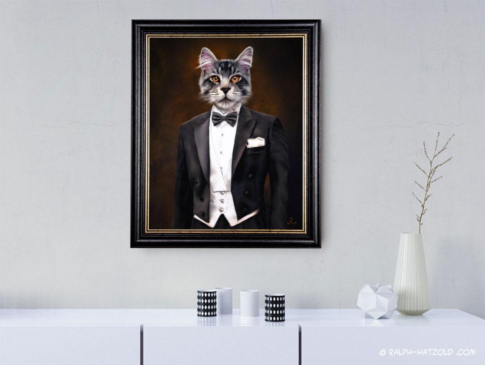 Katze im Anzug Bild auf Leinwand Gerahmt Bild kaufen Gemälde Katze in Kleidung