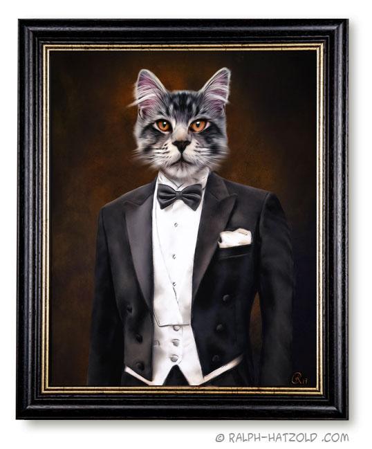 Katzenportrait in Kleidung