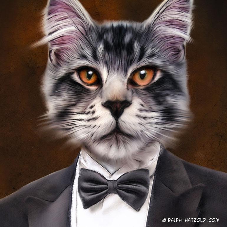 Gemälde Katze in Kleidung