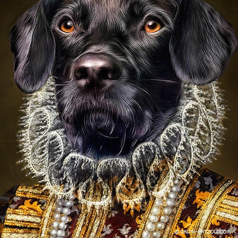 Clarissa-huendin-in-kleid-hund-hundeportrait-in-kleidung-gemaelde-geschenkidee