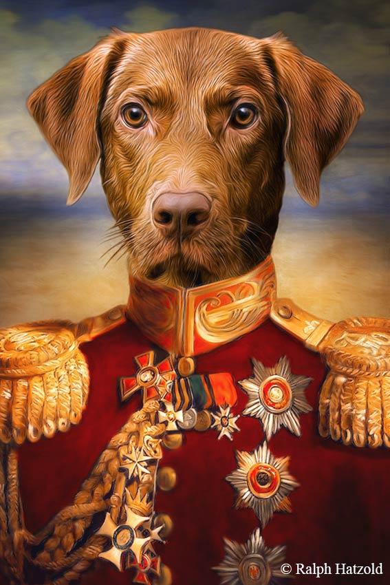 Gemälde Kurzhaar Hundeportrait in roter Uniform