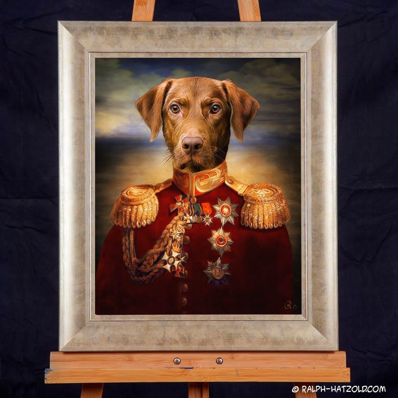 Hundeportrait Kurzhaar Gemälde in Uniform gerahmt in 40x50cm Geschenkidde für Hundebesitzer