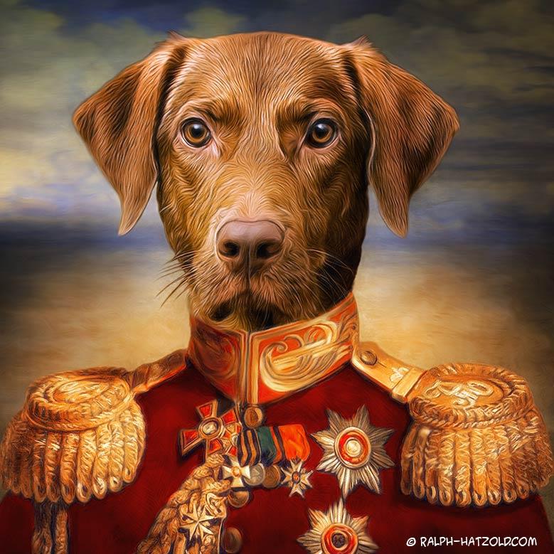 Hund in Kleidung Kurzhaar Gemälde in Uniform gerahmt in 40x50cm Geschenkidde für Hundebesitzer