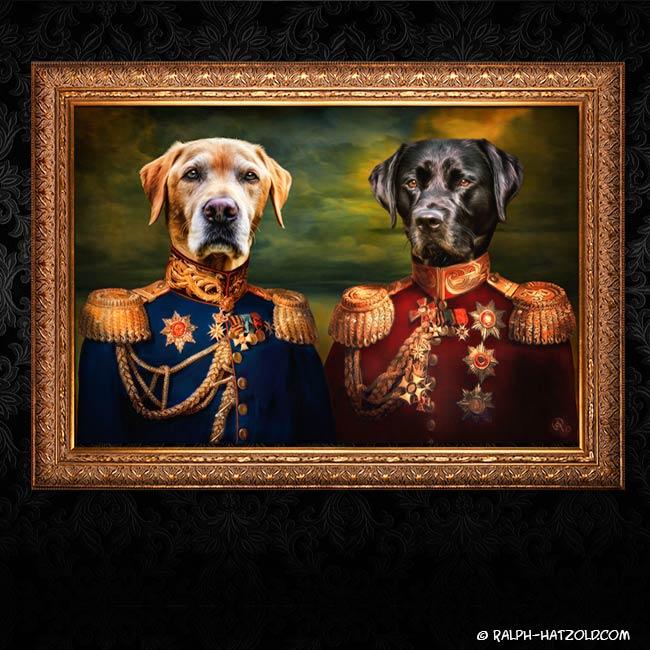 Labrador Schwarz und gelb in Uniform Geschenk für Hundebesitzer Geschenkidee Hunde Portrait