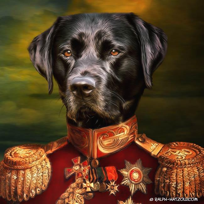 Schwarzer Labrador in Uniform Geschenkidee Bild