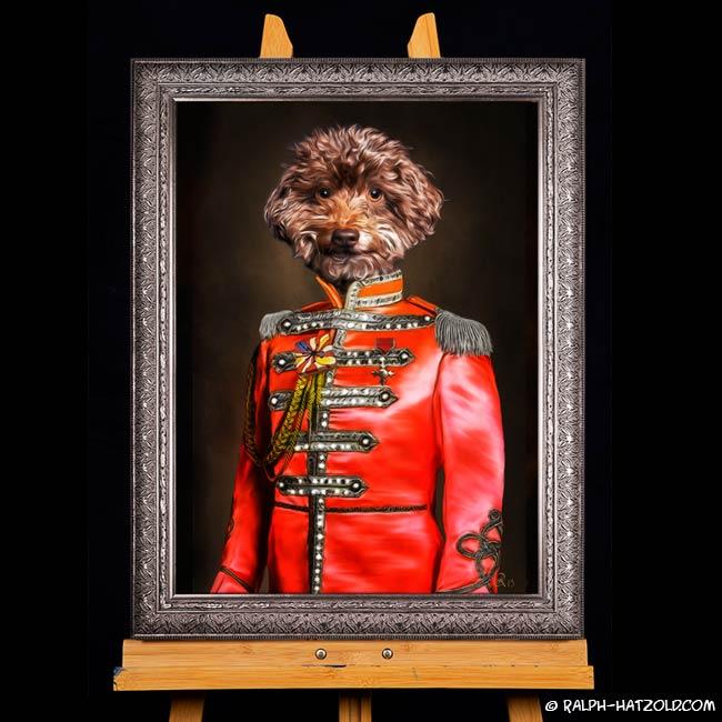 Zwergpudel in Uniform Sgt. Pepper Gemälde Stil Barockrahmen Baloo