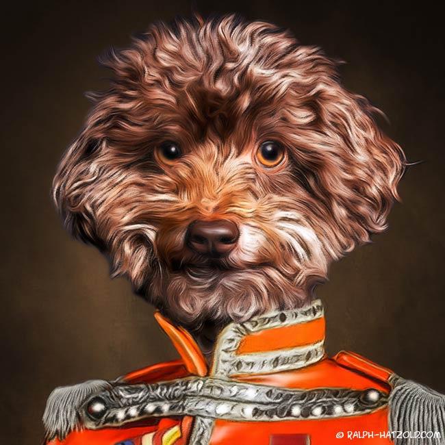 Zwergpudel in Kleidung, Sgt Pepper Uniform Hundeportrait Gemälde