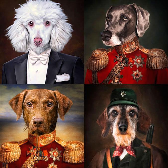Hunde in Kleidung Hundeportraits im Stil alter Gemälde Geschenk für Hunde und Hundebesitzer