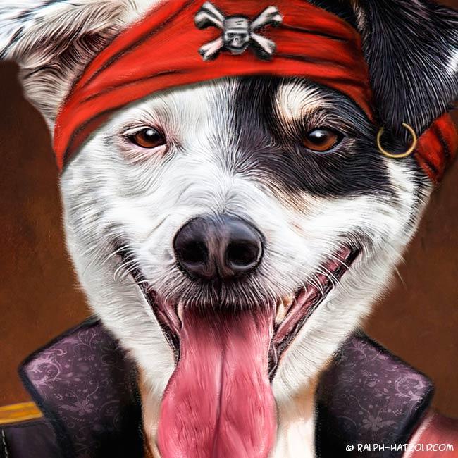 Gemälde Hund Igor als Pirat Sat1 NRW Hundeportait in Kleidung