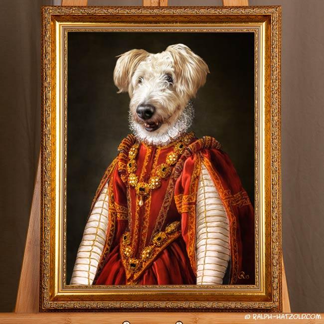 Hund im Kleid Barock Bild gemälde Stil