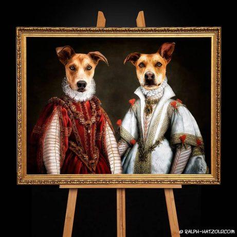 Hund in Kleidung Hündin in Kleid Gemäde Stil im Barockrahmen