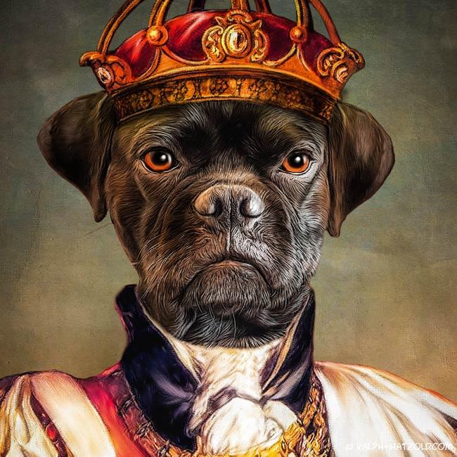 Hund in Königskleidung Barock Bild gemälde Stil Puggle schwarz Portrait
