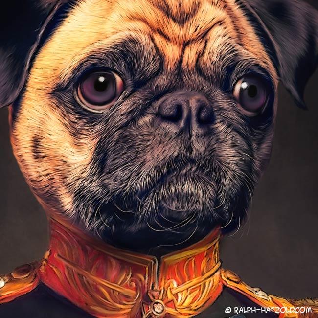 Sportmops Hundeportrait in Uniform Kleidung Gemälde Stil Geschenkidee