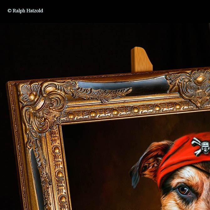 Hundeportrait in Piratenkleidung Pirat Melcolm Geschenkidee