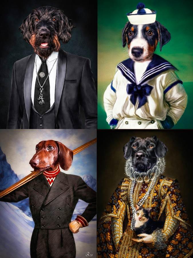 Individuelle Hundeportraits im Kleid, Skifahrer, Matros Appenzeller Sennenhund, Dackele
