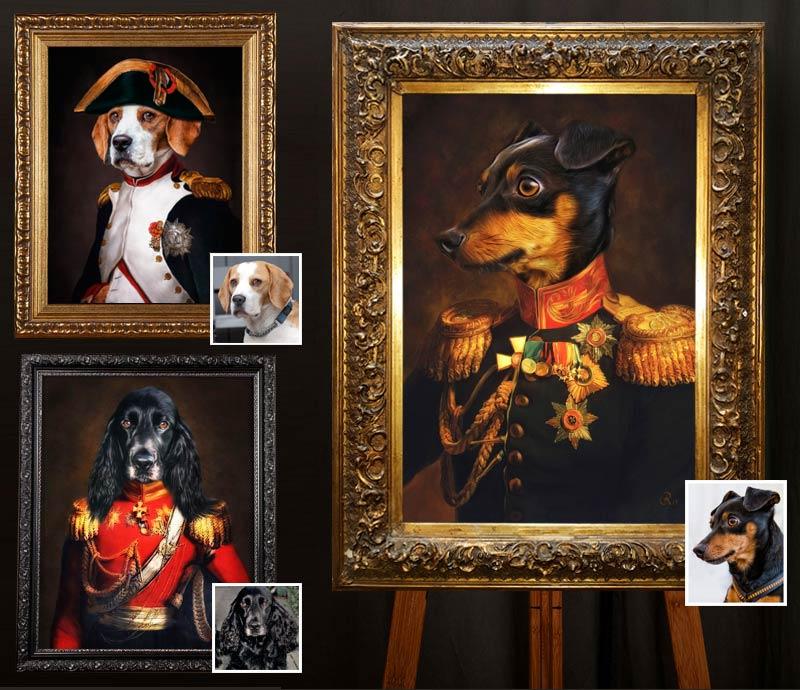 Hundeportraits in Uniform, Beagle, Coker Spaniel, Pinscher individuelle Gemälde