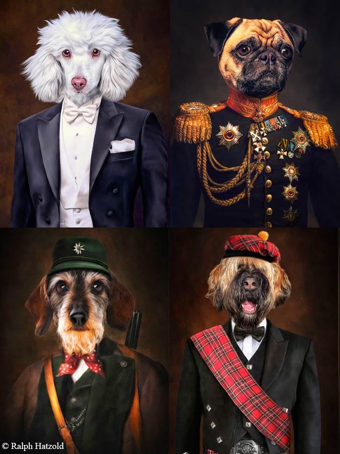 Hundeportraits in indivuídueller Kleidung, Pudel im Anzug, Sportmops Retro Mops in Uniform, Dackel in Jagdkleidung, Schotten Kleidung, Geschenkidee Hund