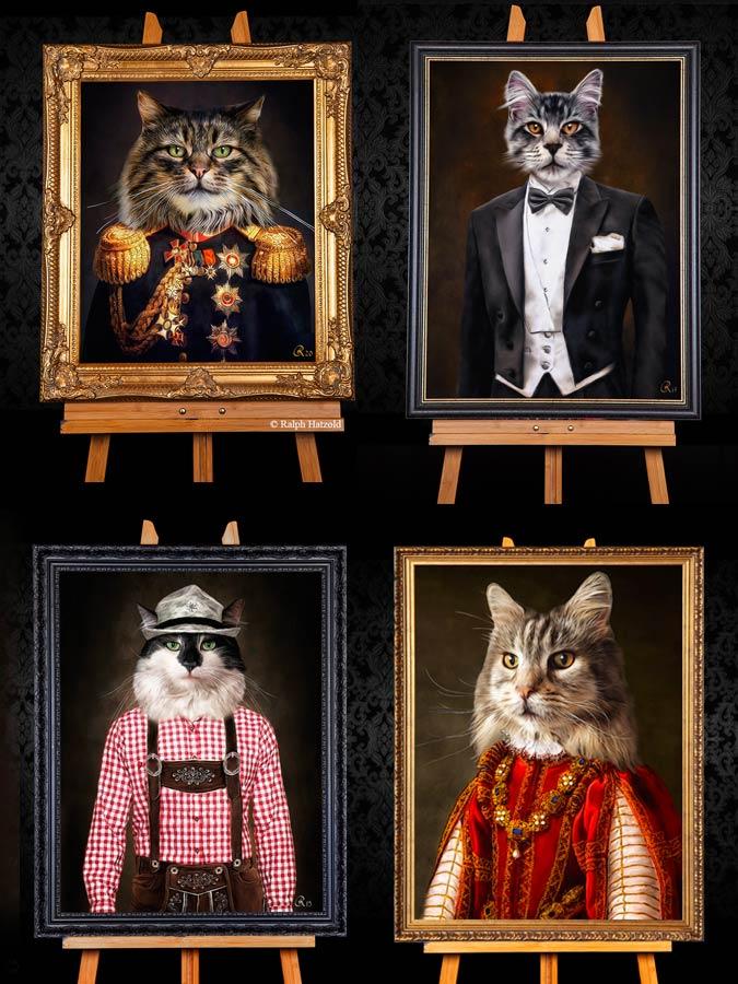 Katzenportraits individuell, Katze in Kleidung Geschenkidee Katzen Gemälde