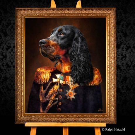 Haustier Portrait Gordon Setter in Uniform, Hundegemälde in Kleidung, individuelles Hundeportrait