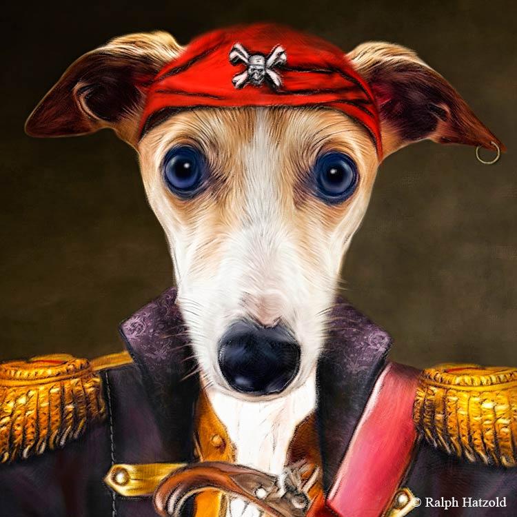 Whippet Gemälde Hundeportrait Geschenkidee Individuelles Portrait in Kleidnung