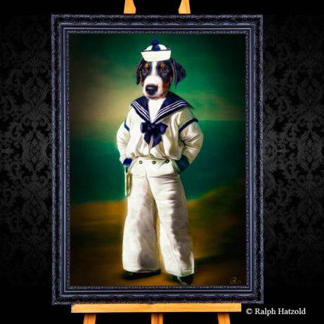 Hundeportrait Appenzeller Sennenhund hund in Kleidung Matrosenanzug Geschenkidee Gemaelde welpe