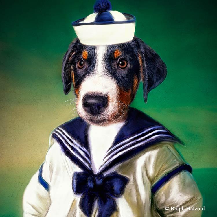 Appenzeller Sennenhund Gemälde Geschenkidee Haustier als Gemälde, in Kleidung