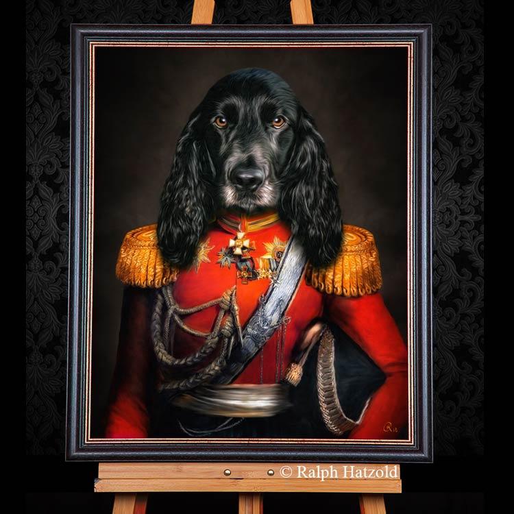 Cocker Spaniel in roter Uniform, Hundeportrait Gemälde Haustier in Kleidung