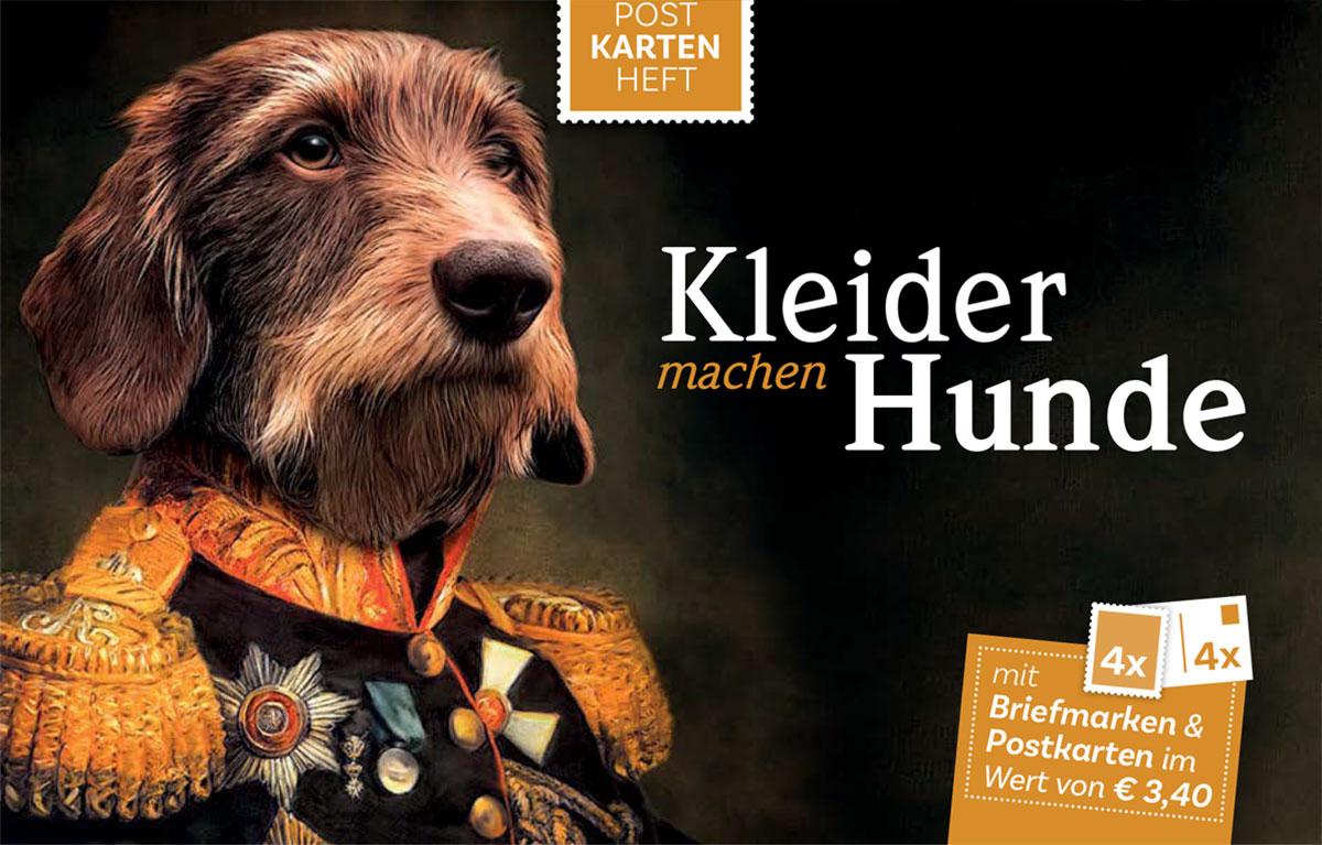 Kleider machen Hunde, Briefmarken und Postkarten Hunde in Kleidung, Gemälde Österreich, Markenheft Post