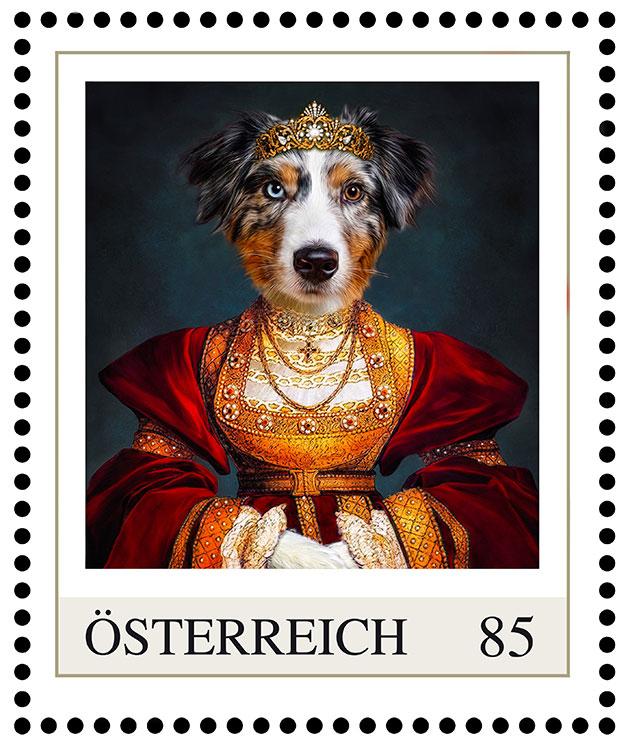 hundeportrait-abby-australian-shepherd-briefmarke-hund-im-kleid-gemaelde-post-oesterreich