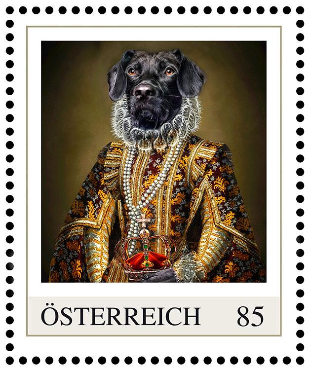 Prinzessin Clarissa, Hundeportrait im Kleid, Briefmarke Österreichische Post