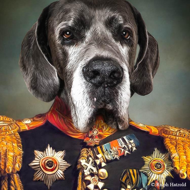 Deutsche Dogge in Uniform Gemälde, Geschenkidee, Hund in Kleidung, Individuelles Kunstwerk vom eigenen Hund
