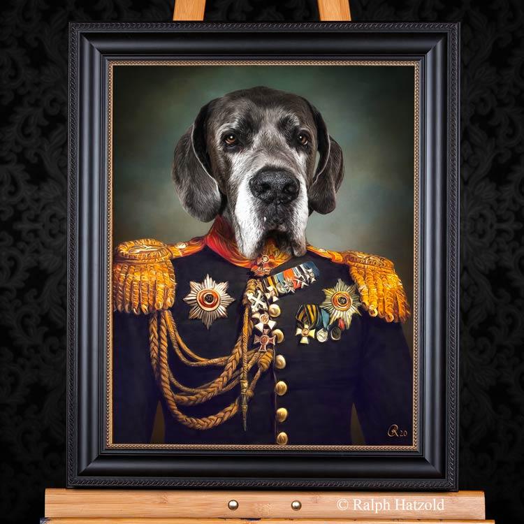 deutsche Dogge Zeus in Uniform, Gemälde vom eigenen Haustier, Individuelle Hundeportraits Dogge in Kleidung