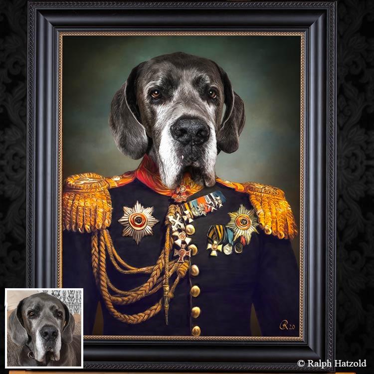 Gemälde Deutsche Dogge in Uniform, Geschenkidee für Hundebesitzer, Hund in Kleidung, Individuelles Kunstwerk vom eigenen Haustier