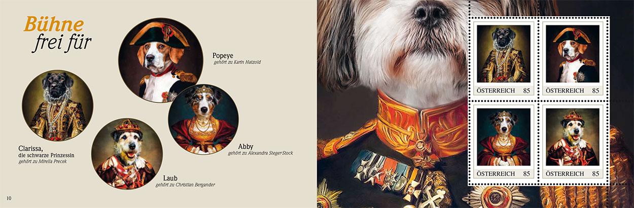Hunde Portraits in Kleidung Briefmarken derr österreichischen Post, individuelle Tierportraits in Uniform Anzug oder Kleid