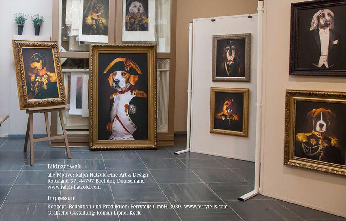 Kleider machen Hunde, Briefmarkenheft Hundeportraits in Kleidung,Konzept, Redaktion und Produktion: Ferrytells GmbH 2020, www.ferrytells.com