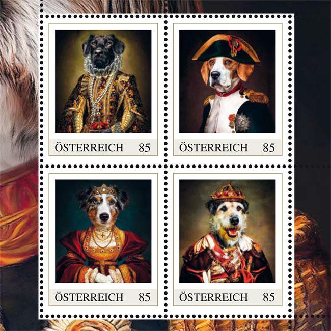 """Briefmarken und Postkarten, Hundeportraits in Kleidung Österreichische Post, Markenheft """"Kleider machen Hunde"""""""