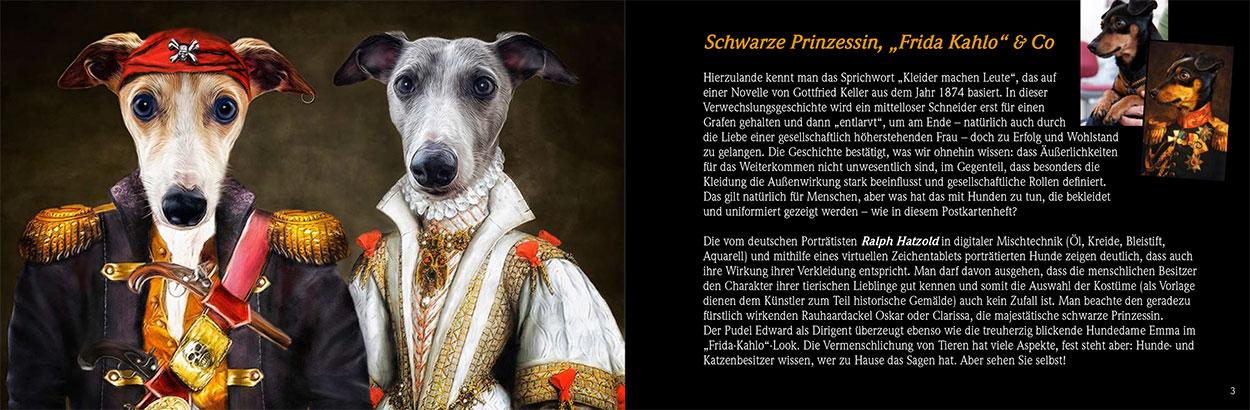 Tierportraits in Kleidung Briefmarken österreichische Post Hunde in Kleidung, Whippets in Kleidung Gemälde Ralph Hatzold