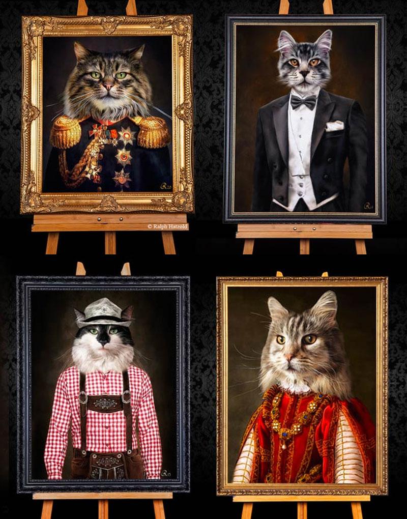 Individuelle Katzenportraits in Kleidung Gemälde Stil auf Leinwand