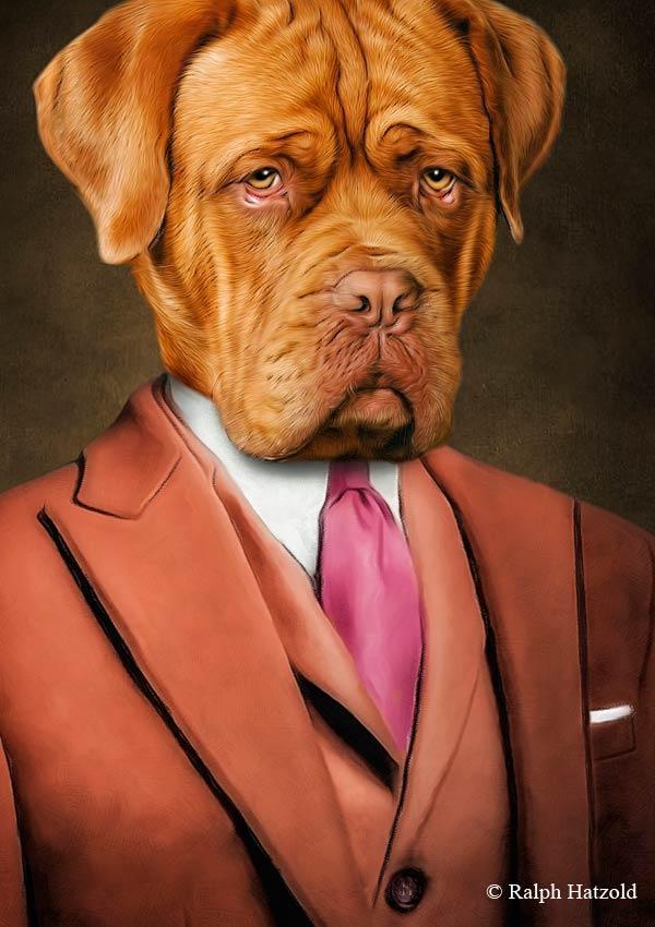 Bordeaux Dogge in braunem Wollanzug individuelles Hundeportrait Gemälde Geschenkidee individuelle Portraits Dogue de Bordeaux