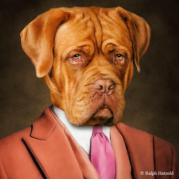 Bordeaux Dogge in Kleidung Hundeportrait Gemälde Geschenkidee individuelle Portraits von Ihrem Dogue de Bordeaux