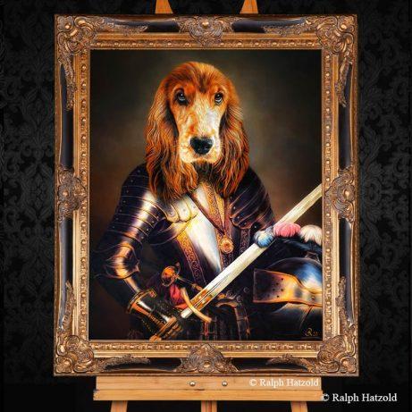 Cocker Spaniel Cooper als Ritter eigener Hund als Ritter Gemälde in Uniform, Hundeportrait in Uniform, Geschenkidee für Hundebesitzer