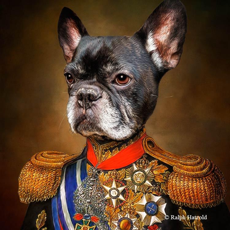 Französische Bulldogge Gemälde in Uniform,Frenchie, Bully, French Bully, Hundeportrait in Uniform, Geschenkidee für Hundebesitzer