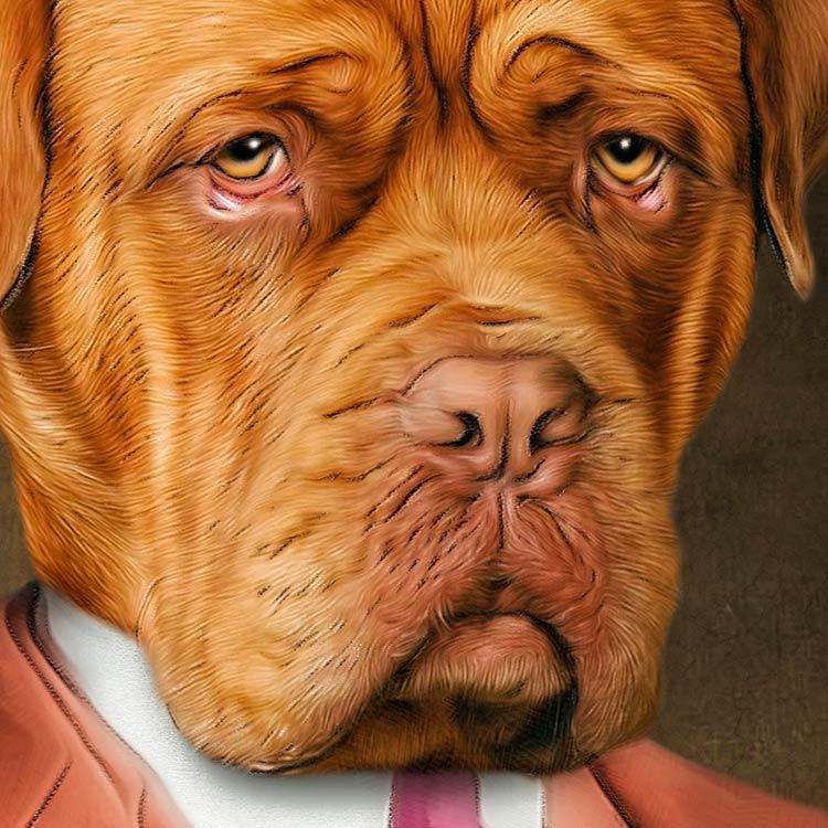 Detailansicht Bordeaux Dogge in braunem Wollanzug individuelles Hundeportrait Gemälde Geschenkidee individuelle Portraits Dogue de Bordeaux