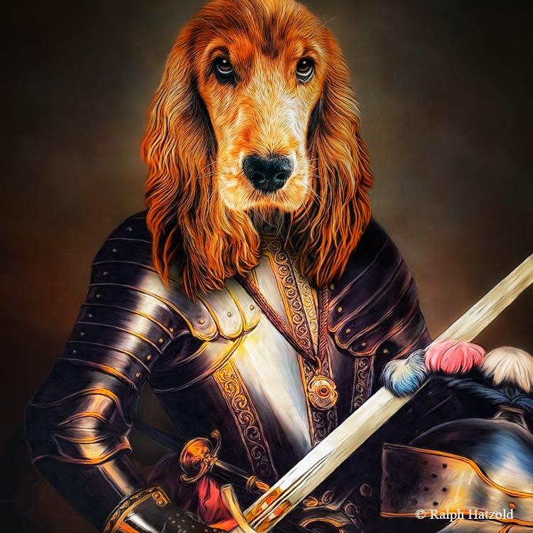 Hundeportrait roter Cocker Spaniel in Ritterrüstung, Gemälde vom eigenen Hund, Geschenk für Hundebesitzer